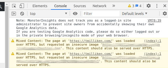 Mixed content error in Chrome Dev Tools
